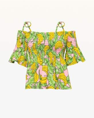Juicy Couture JXJC Banana Print Smocked Off Shoulder Top