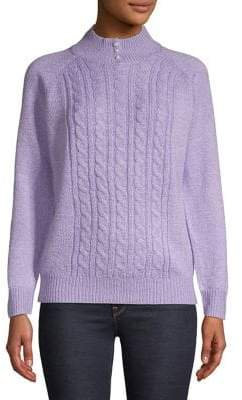Karen Scott Cable Knit Mock-Neck Pearl Sweater