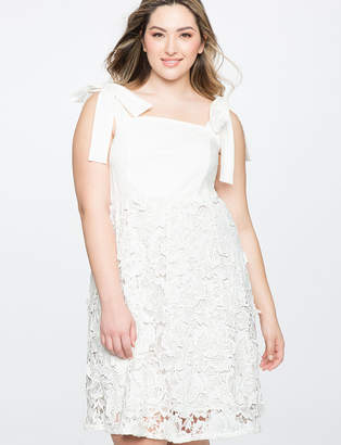 ELOQUII 3D Lace Fit and Flare Dress