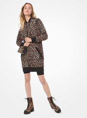 MICHAEL Michael Kors Leopard-Print Cotton-Terry Hoodie Dress