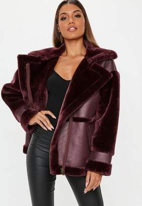 Missguided Wine Faux Fur Sleeve Aviator Jacket