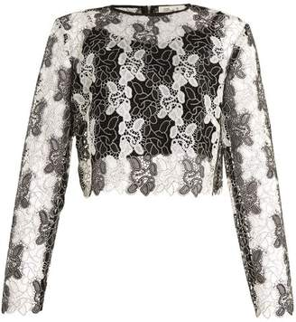 Diane Von Furstenberg - Round Neck Bi Colour Lace Top - Womens - Black White