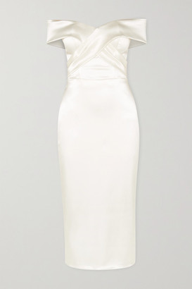 Halfpenny London Kelly Off-the-shoulder Satin Midi Dress - Ivory