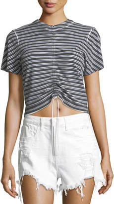 Alexander Wang Short-Sleeve Striped Gathered-Front Tee