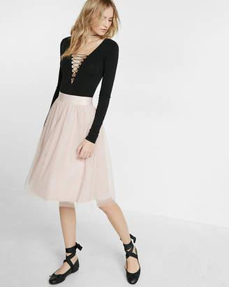 Express High Waisted Tulle Midi Skirt
