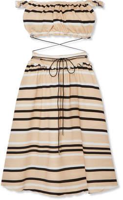 J.W.Anderson Off-the-shoulder Cutout Striped Cotton-blend Dress - Off-white