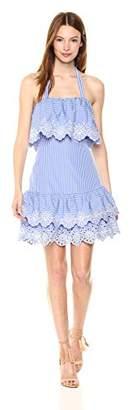 Parker Women's Estela Sleevless Gingham Embroidered Short Dress