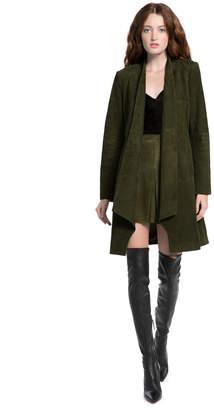 Alice + Olivia Logan Suede Drape Collar Coat