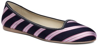 Brooks Brothers Silk Tie Striped Ballet Flat