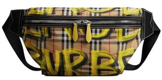 Burberry Large Sonny Graffiti Check Canvas Fanny Pack