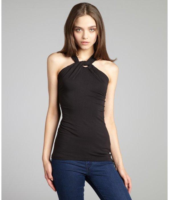 Tahari black jersey x-neckline sleeveless blouse