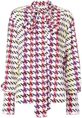 Oscar de la Renta graphic-print tie-neck blouse