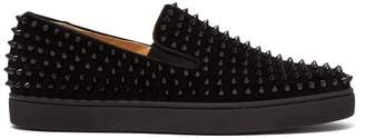 Christian Louboutin Roller Boat Spike Embellished Slip On Trainers - Mens - Black