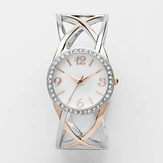 Hello Kitty Studio Time Two Tone Simulated Crystal Crisscross Bangle Watch - STD1016T - Women