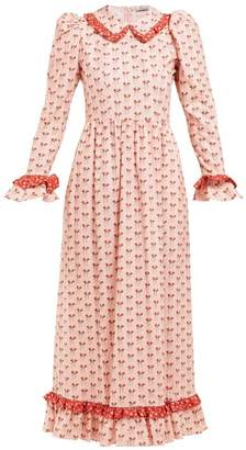 Batsheva Ruffled Floral Print Cotton Midi Dress - Womens - Pink Multi