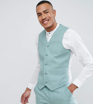 Asos DESIGN Tall Wedding Super Skinny Suit Vest In Sage Green Linen