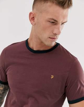 Farah Groves ringer t-shirt in burgundy