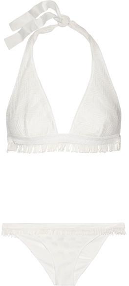 MissoniMissoni - Mare Fringed Crochet-knit Halterneck Bikini - White