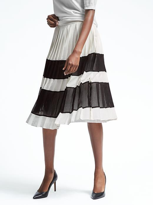 Pleated Gingham Midi Skirt