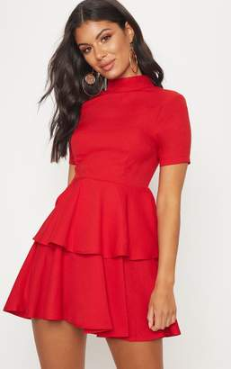 PrettyLittleThing Red Cap Sleeve Tiered Skater Dress