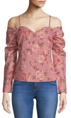 Lovers + Friends Rayna Floral Cold-Shoulder Top