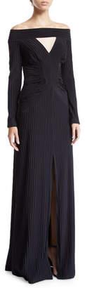 Tadashi Shoji Livia Off-the-Shoulder Pintuck Cutout Gown