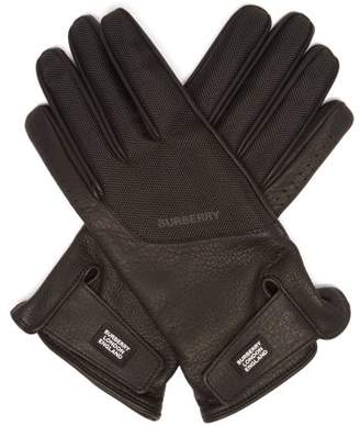 Burberry Technical Panel Leather Gloves - Mens - Black