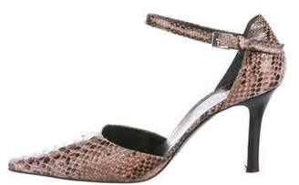 Pollini Python Ankle Strap Sandals