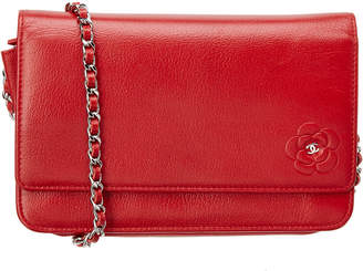 Chanel Red Caviar Leather Camellia Wallet On Chain