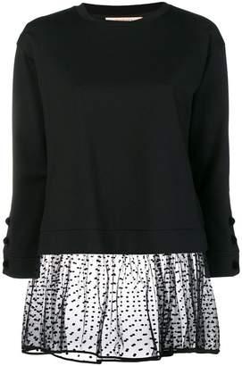 Twin-Set dotted mesh trim blouse