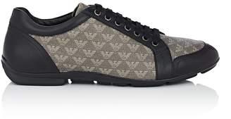 Emporio Armani Men's Logo-Print Canvas & Leather Sneakers