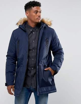 Asos Parka Jacket with Faux Fur Trim in Navy