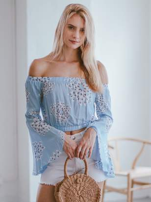 Goodnight Macaroon 'Donette' Dandelion Off The Shoulder Cropped Top
