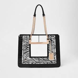 River Island White zebra print chain handle tote bag