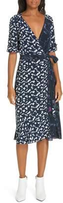 Tanya Taylor Luisa Print Silk Wrap Dress