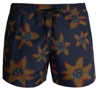 Paul Smith Torn Floral Print Swim Shorts - Mens - Black Multi