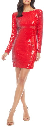 Dress the Population Lola Sequin Long Sleeve Body-Con Minidress