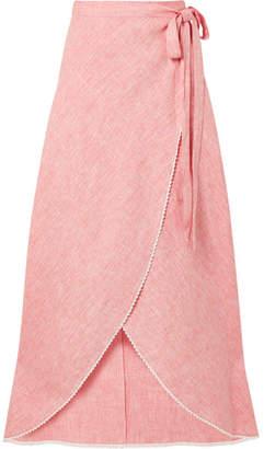 Miguelina Ballerina Crochet-trimmed Linen Wrap Maxi Skirt