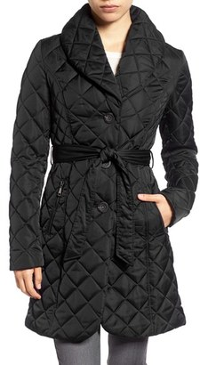Tahari Casey Quilted Shawl Collar Coat $210 thestylecure.com