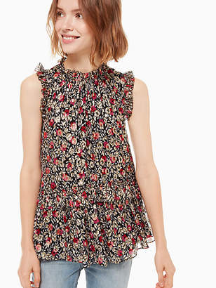 Kate Spade Floral park clip dot shell top