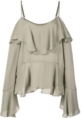 Nicole Miller ruffled off shoulder blouse