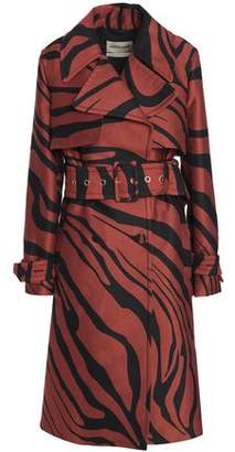 Roberto Cavalli Zebra-Print Cotton And Silk-Blend Trench Coat