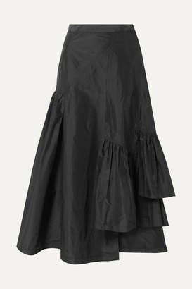 3.1 Phillip Lim Asymmetric Ruffled Silk-taffeta Midi Skirt - Black