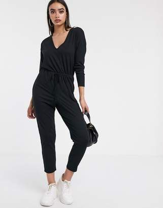 Asos Design DESIGN v neck lounge wear jumpsuit with tie waist with long sleeve