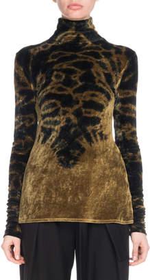 Proenza Schouler Turtleneck Long-Sleeve Degrade Velvet Jersey Top