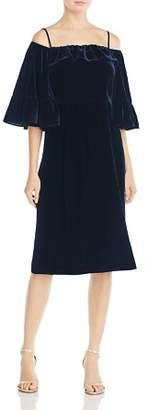 Whistles Velvet Cold-Shoulder Dress - 100% Exclusive