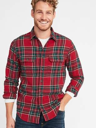 Old Navy Regular-Fit Built-In Flex Plaid Flannel Shirt for Men