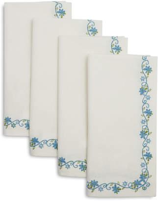 Sur La Table Light Blue Floral Stitch Napkins