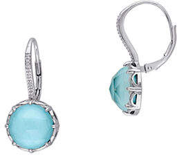 Catherine Malandrino Sterling Silver 0.1TCW Diamond and Turquoise Earrings