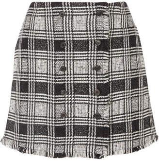 Thom Browne Frayed Checked Wool-blend Tweed Mini Skirt - Black